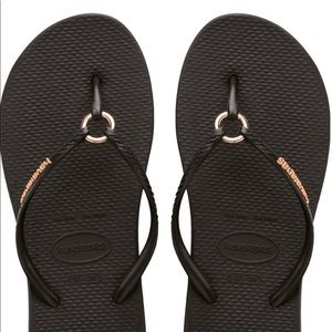 Hobby Anna flip-flops with copper ring at toes